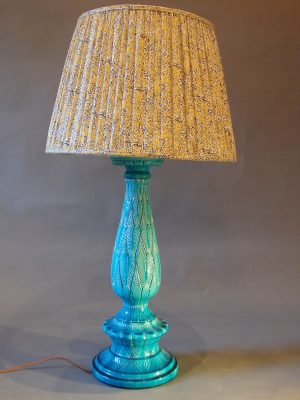 Turquoise Glazed Moulded Pottery Lamp