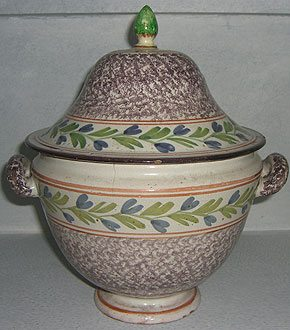 Faience Spongeware Bowl and Cover