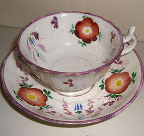 A Victorian Sunderland Lustreware Teacup and Saucer