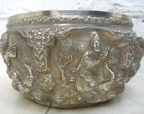 Burmese Silver Repousse Work Bowl