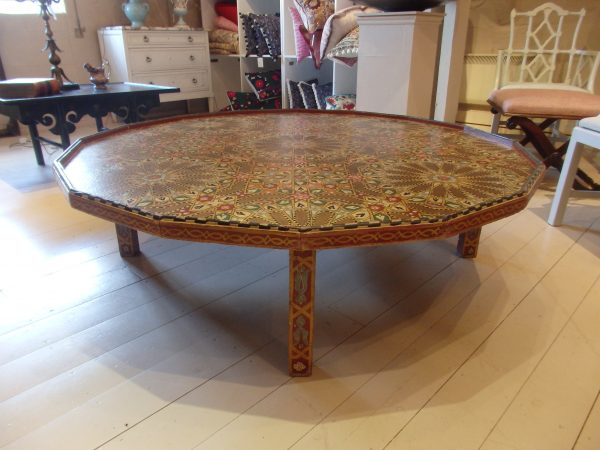 Large Moroccan Hand Painted Coffee Table, Anglo-Oriental Antiques